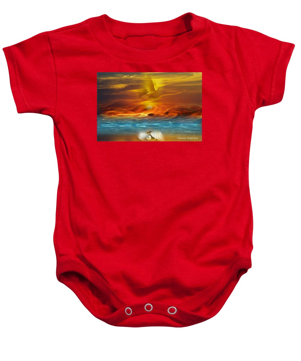Pearls Baby Onesie featuring the digital art Pearls Of Refineent by Jewell McChesney