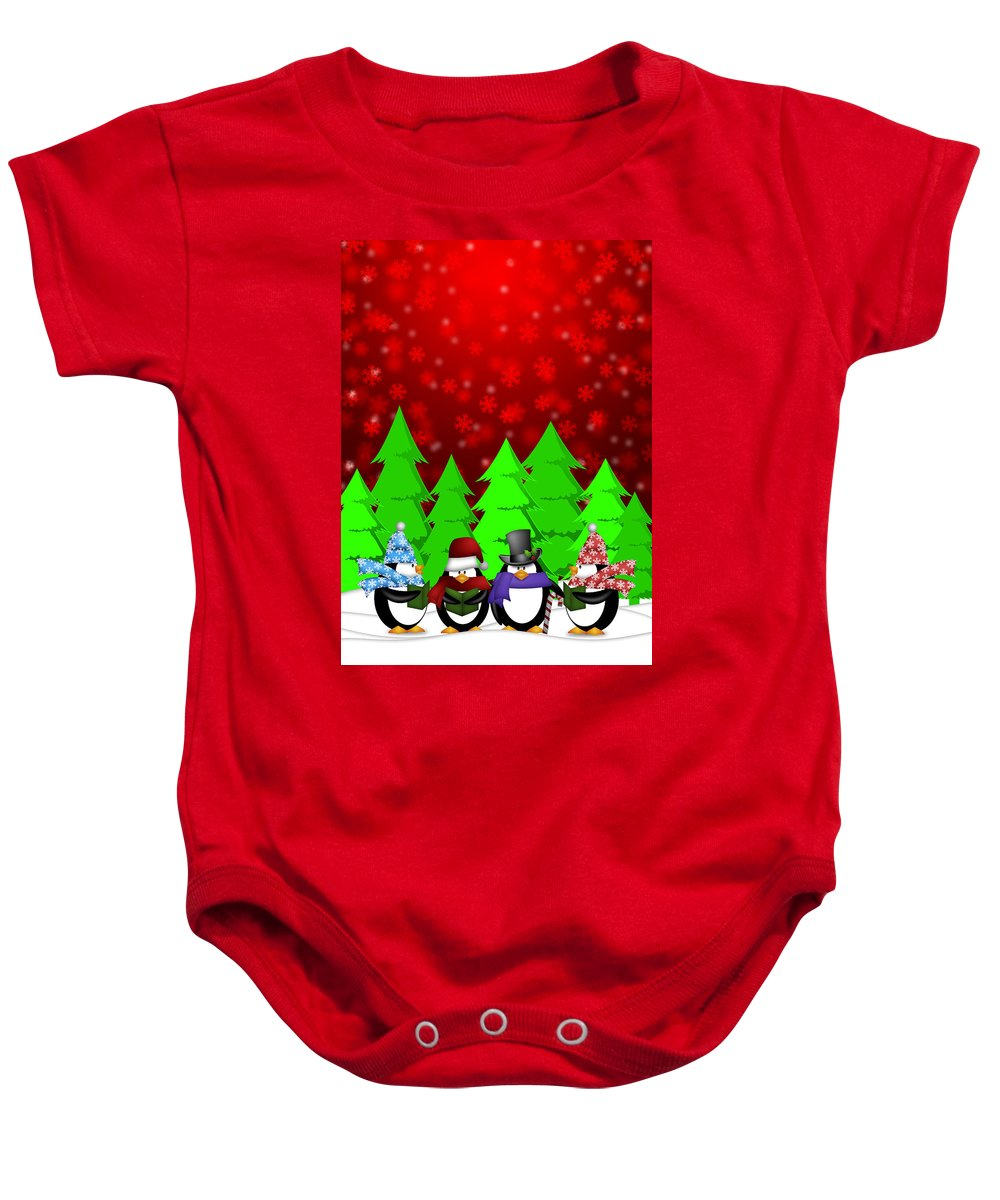 Christmas Baby Onesie featuring the digital art Penguins Carolers Singing With Red Winter Scene Illustration by Jit Lim