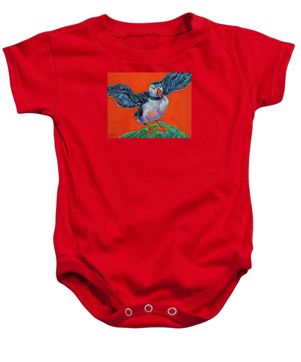 Puffin Baby Onesie featuring the painting Petty Harbour Puffin by Derrick Higgins