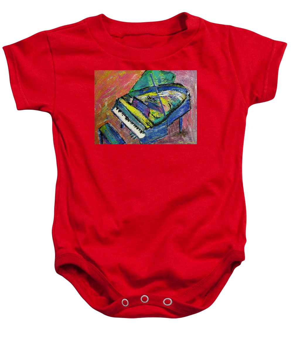 Piano Baby Onesie featuring the painting Piano Blue by Anita Burgermeister