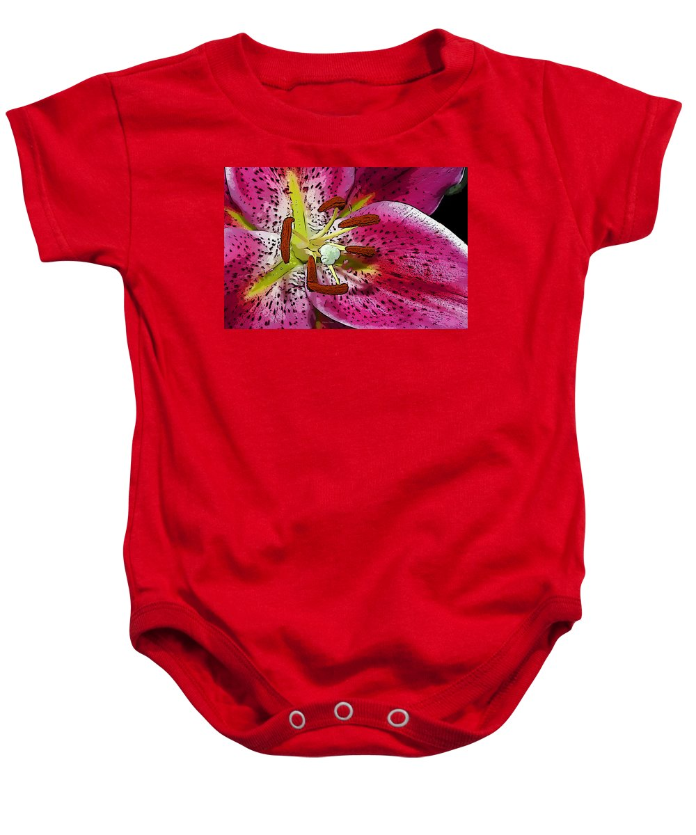 Lily Baby Onesie featuring the photograph Pink Lily Painterly by Phyllis Denton