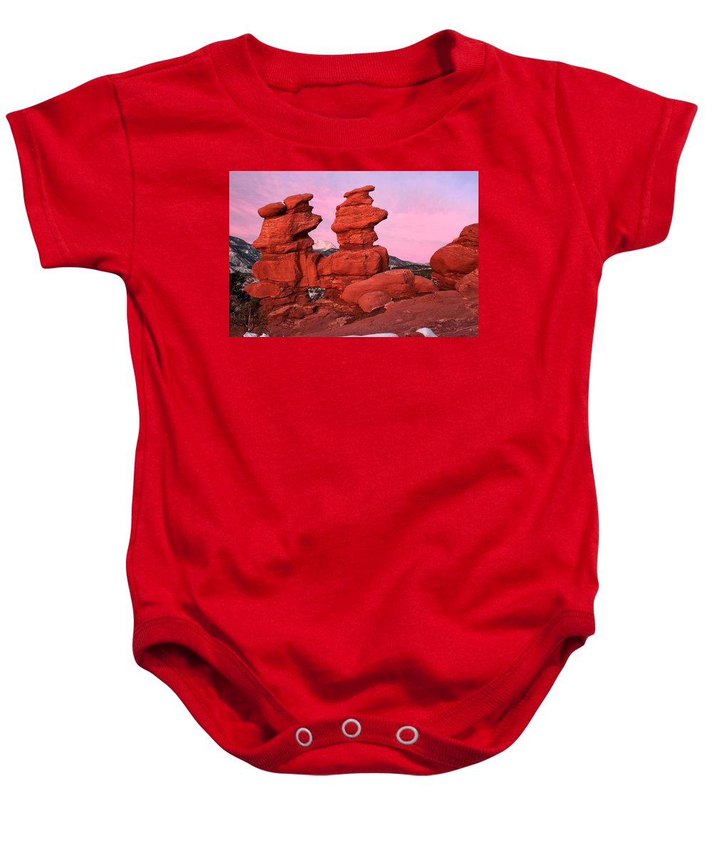 Garden Of The Gods Baby Onesie featuring the photograph Pink Morning by Ronda Kimbrow