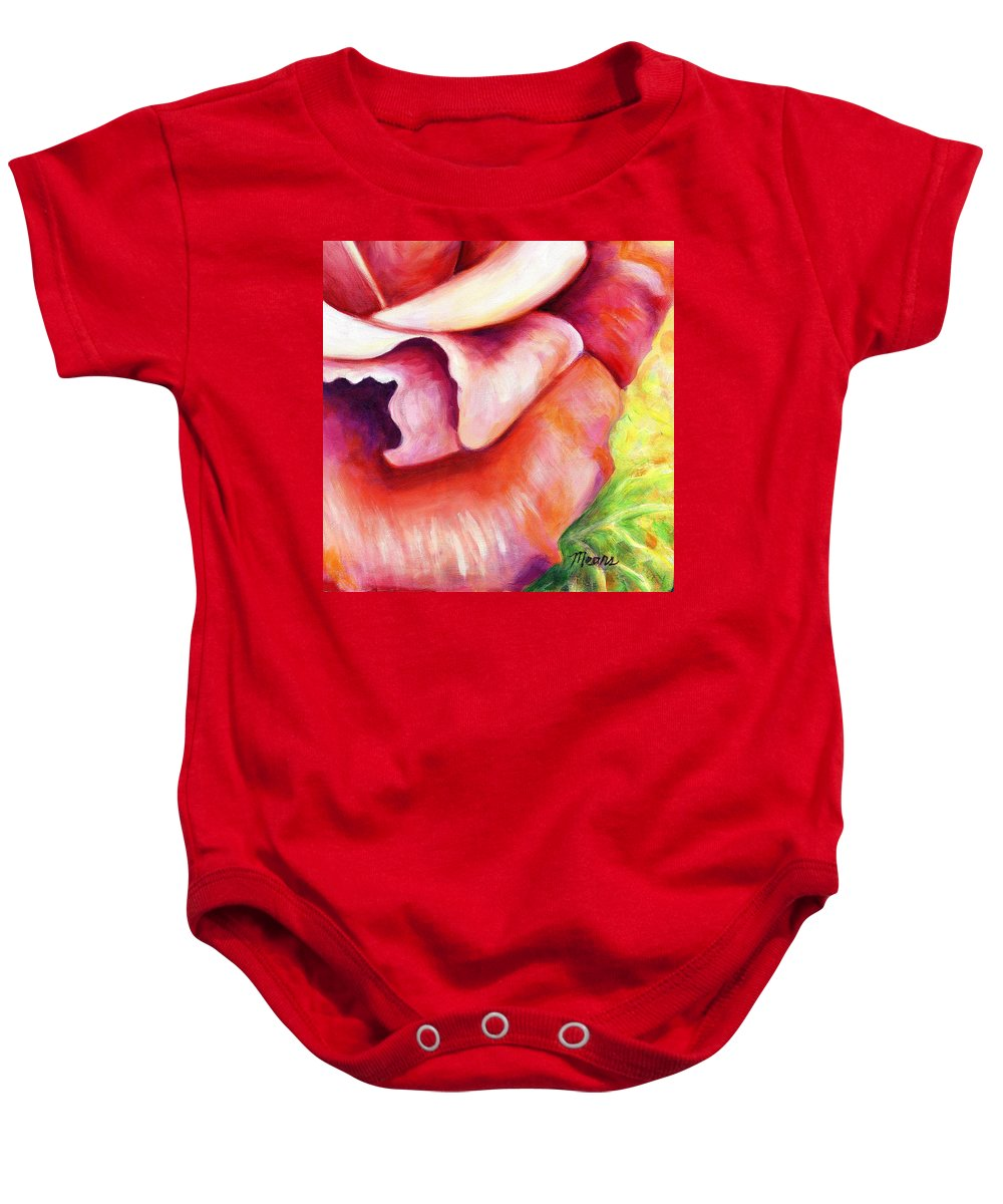 Rose Baby Onesie featuring the painting Pink Rose Two Panel Four Of Four by Linda Mears