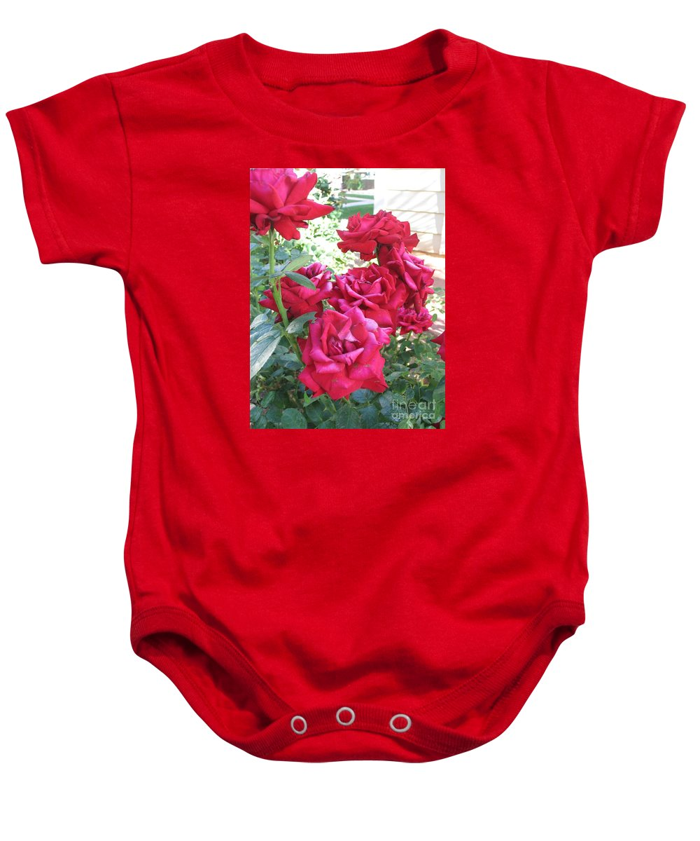 Photography Baby Onesie featuring the photograph Pink Roses by Chrisann Ellis