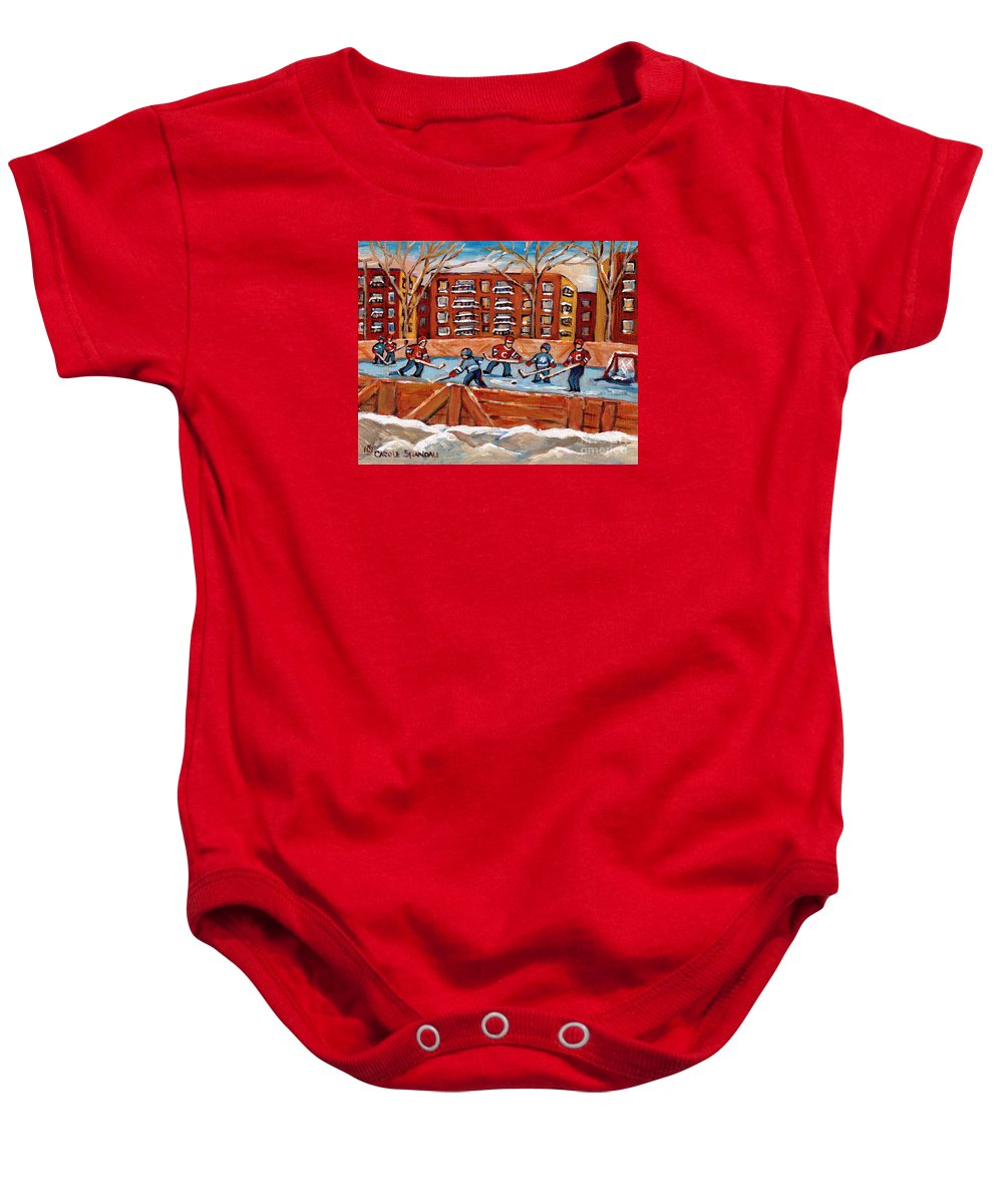 Montreal Baby Onesie featuring the painting Pointe St. Charles Hockey Rink Southwest Montreal Winter City Scenes Paintings by Carole Spandau