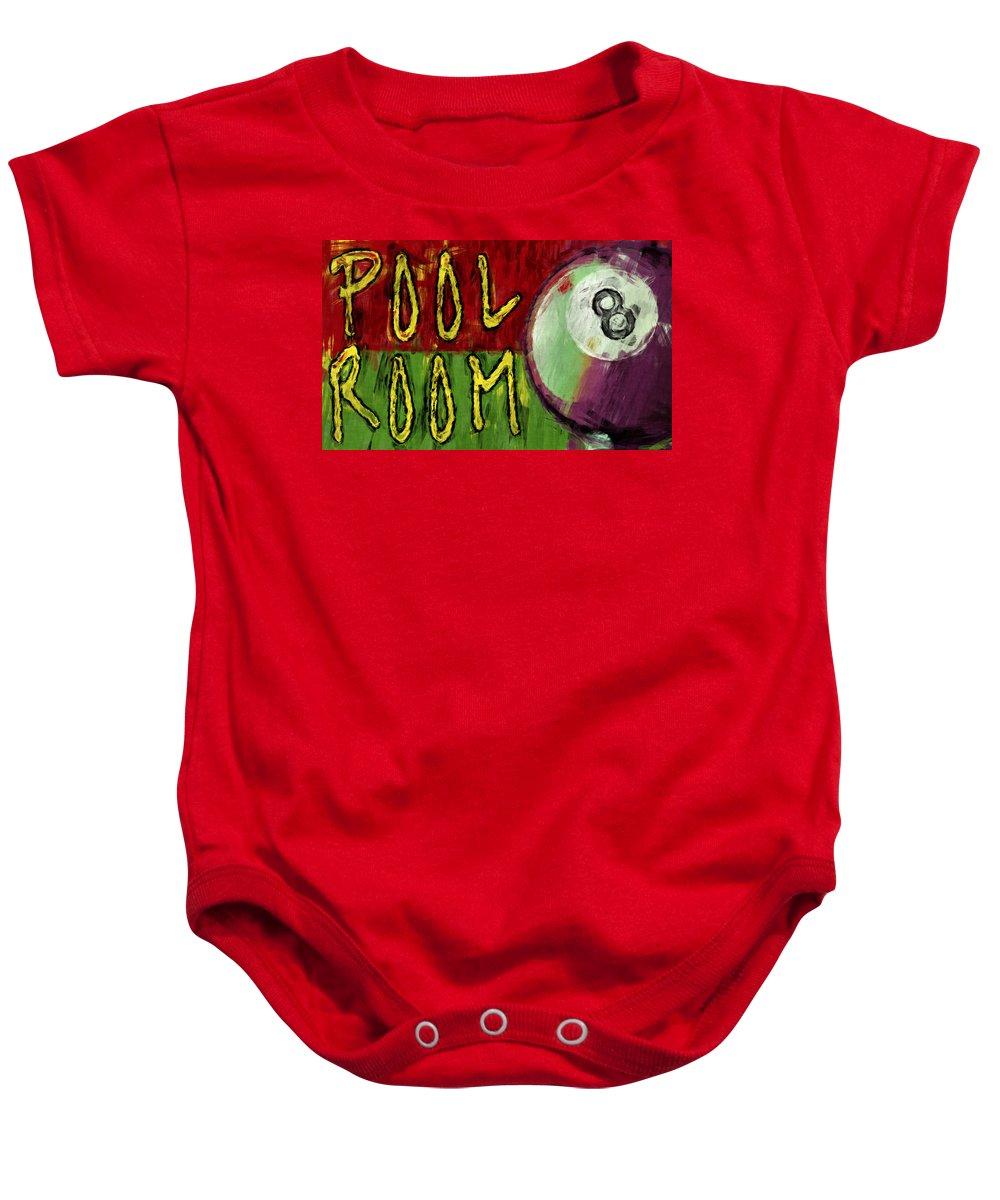 Pool Baby Onesie featuring the digital art Pool Room Sign Abstract by David G Paul