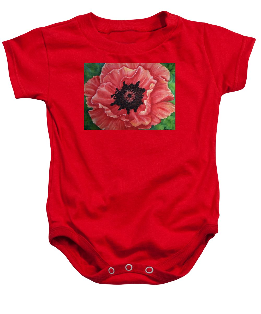 Poppy Baby Onesie featuring the painting Poppy by Conni Reinecke