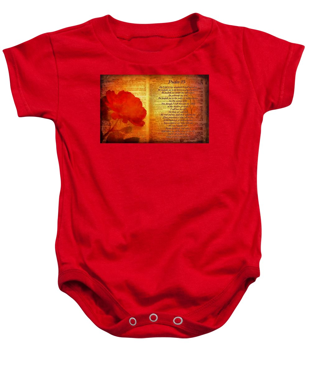 Jesus Baby Onesie featuring the digital art Psalm 23 by Michelle Greene Wheeler