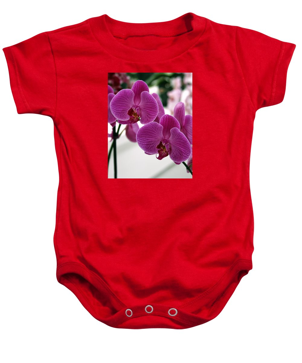 Desert Orchids Baby Onesie featuring the photograph Royal Orchids by William Dey