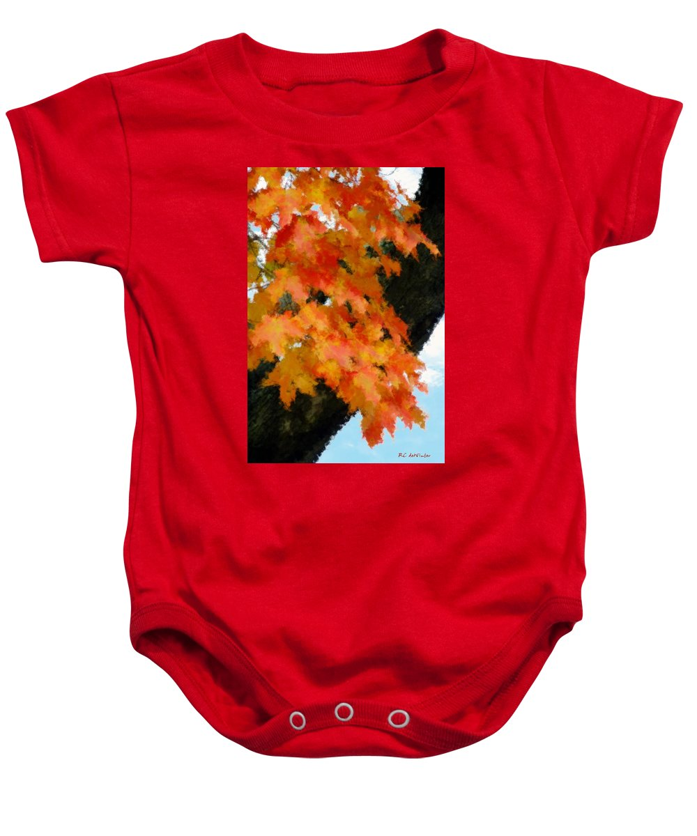 Autumn Baby Onesie featuring the painting Quick Take On Autumn by RC DeWinter