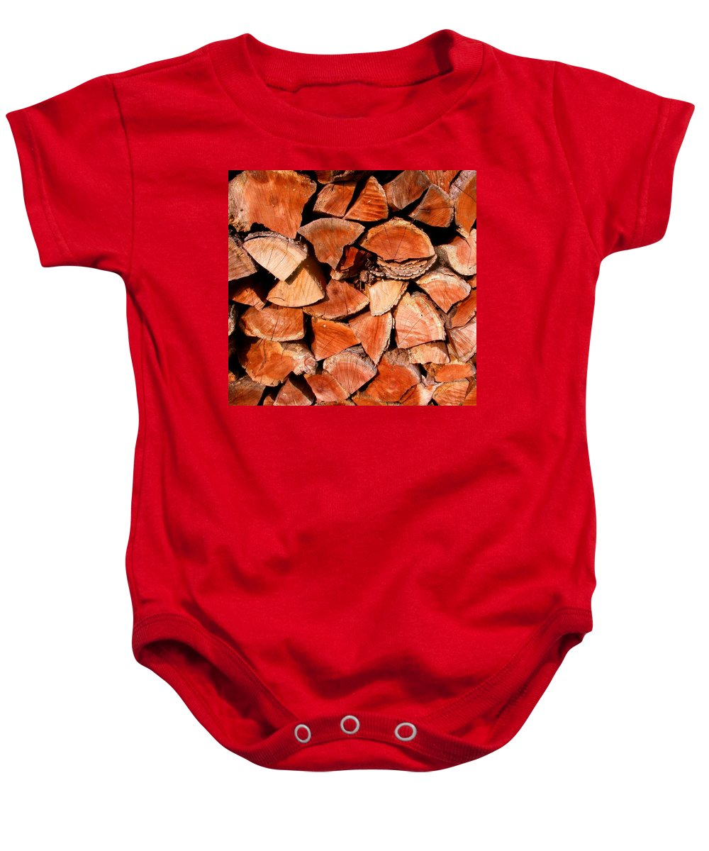 Woodpile Baby Onesie featuring the photograph Quick Trick Wood Stack by Cynthia Wallentine