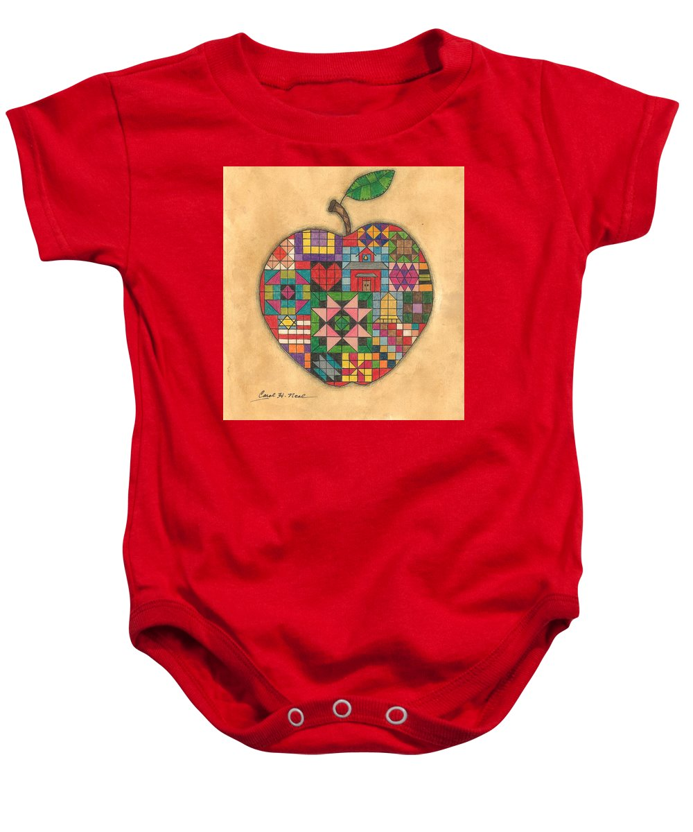 Apple Baby Onesie featuring the drawing Quilted Apple by Carol Neal