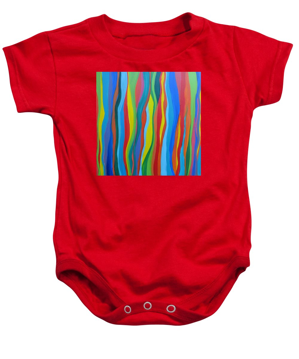 Abstract Baby Onesie featuring the painting Rainbow Eucalyptus by Kelly Simpson