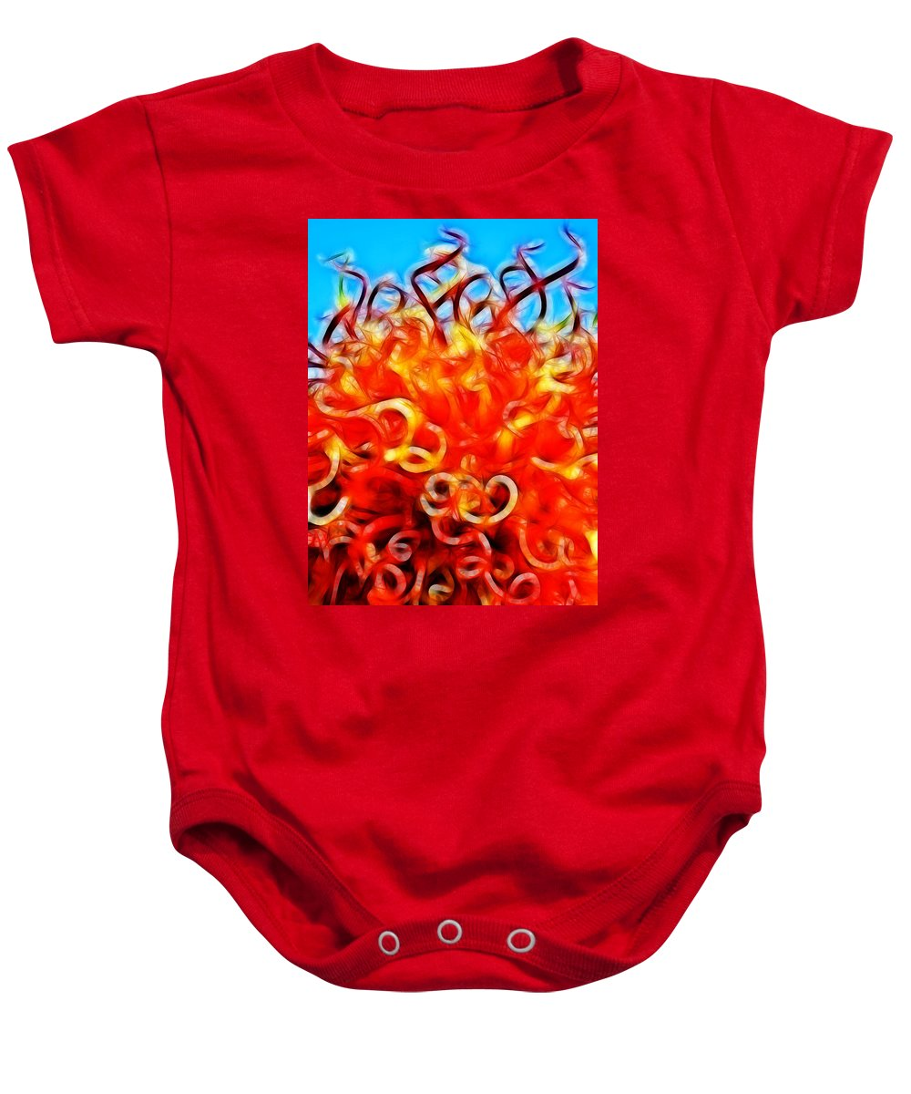 Abstract Baby Onesie featuring the digital art Reach For A Glorious Morning by Bobbie Barth