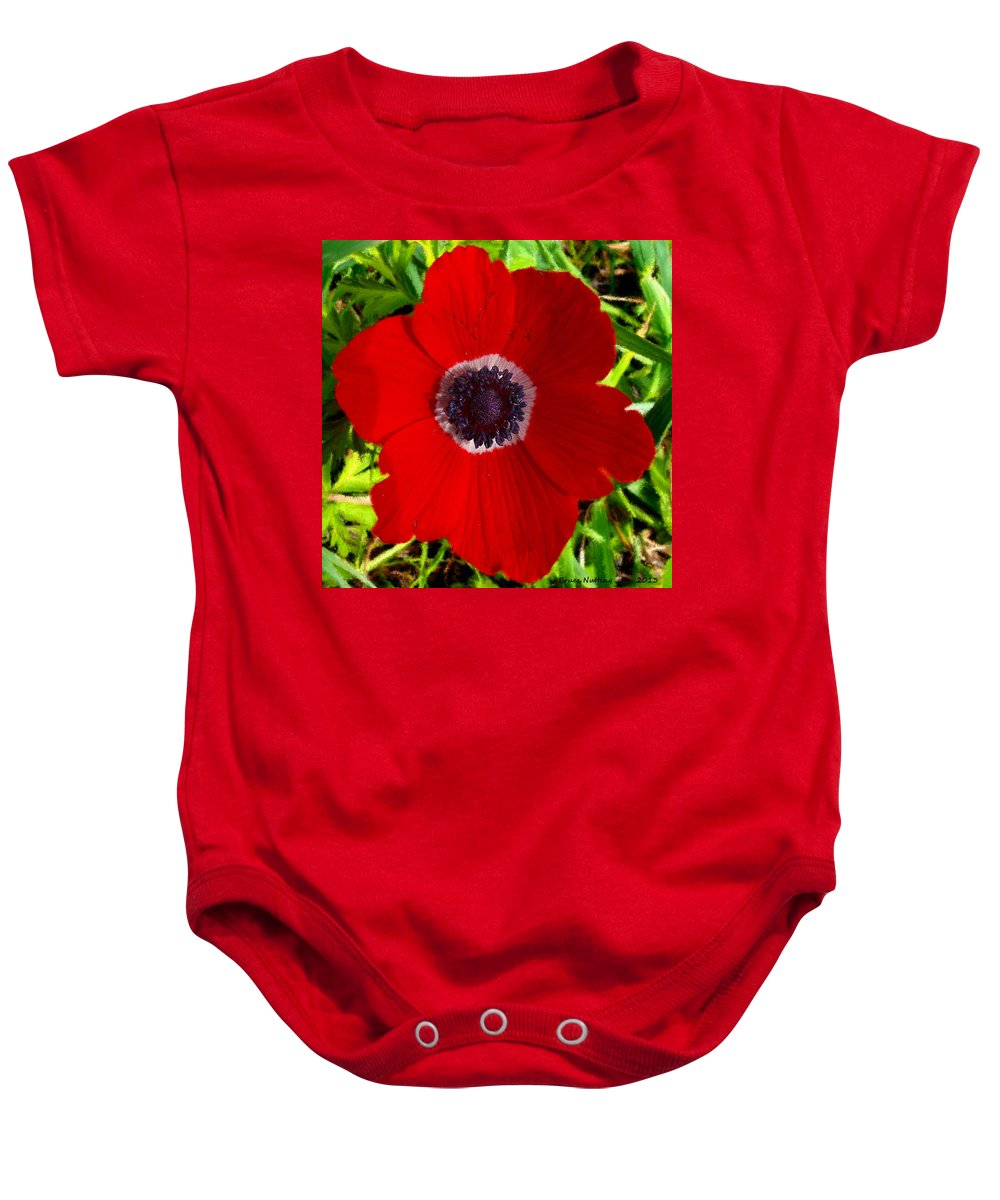 Red Baby Onesie featuring the painting Red Calanit by Bruce Nutting
