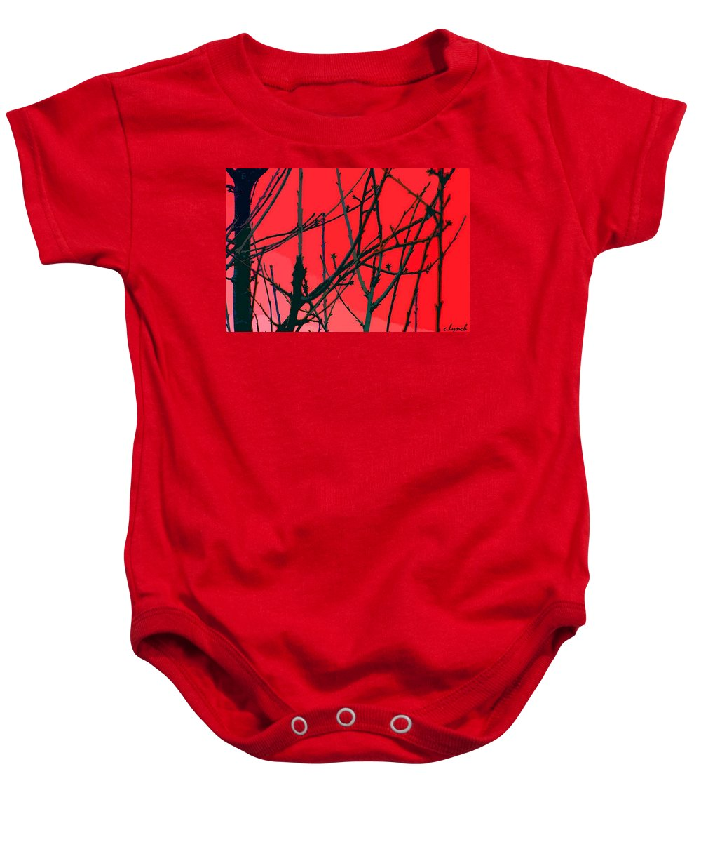 Red Baby Onesie featuring the digital art Red by Carol Lynch
