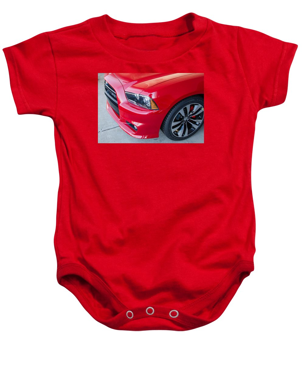 Automobile Baby Onesie featuring the photograph Red Charger 1508 by Guy Whiteley