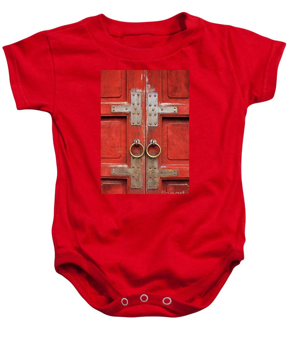 Vietnam Baby Onesie featuring the photograph Red Doors 01 by Rick Piper Photography