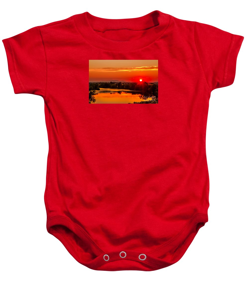 Sunset Baby Onesie featuring the photograph Red Glow by Robert Bales