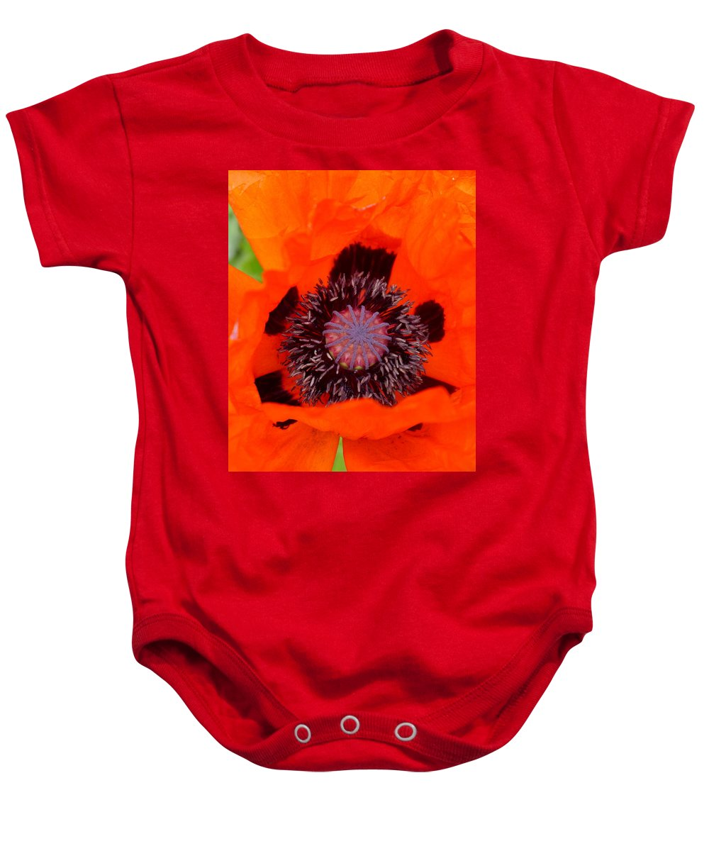 Oriental Poppy Baby Onesie featuring the photograph Red Oriental Poppy by Christiane Schulze Art And Photography