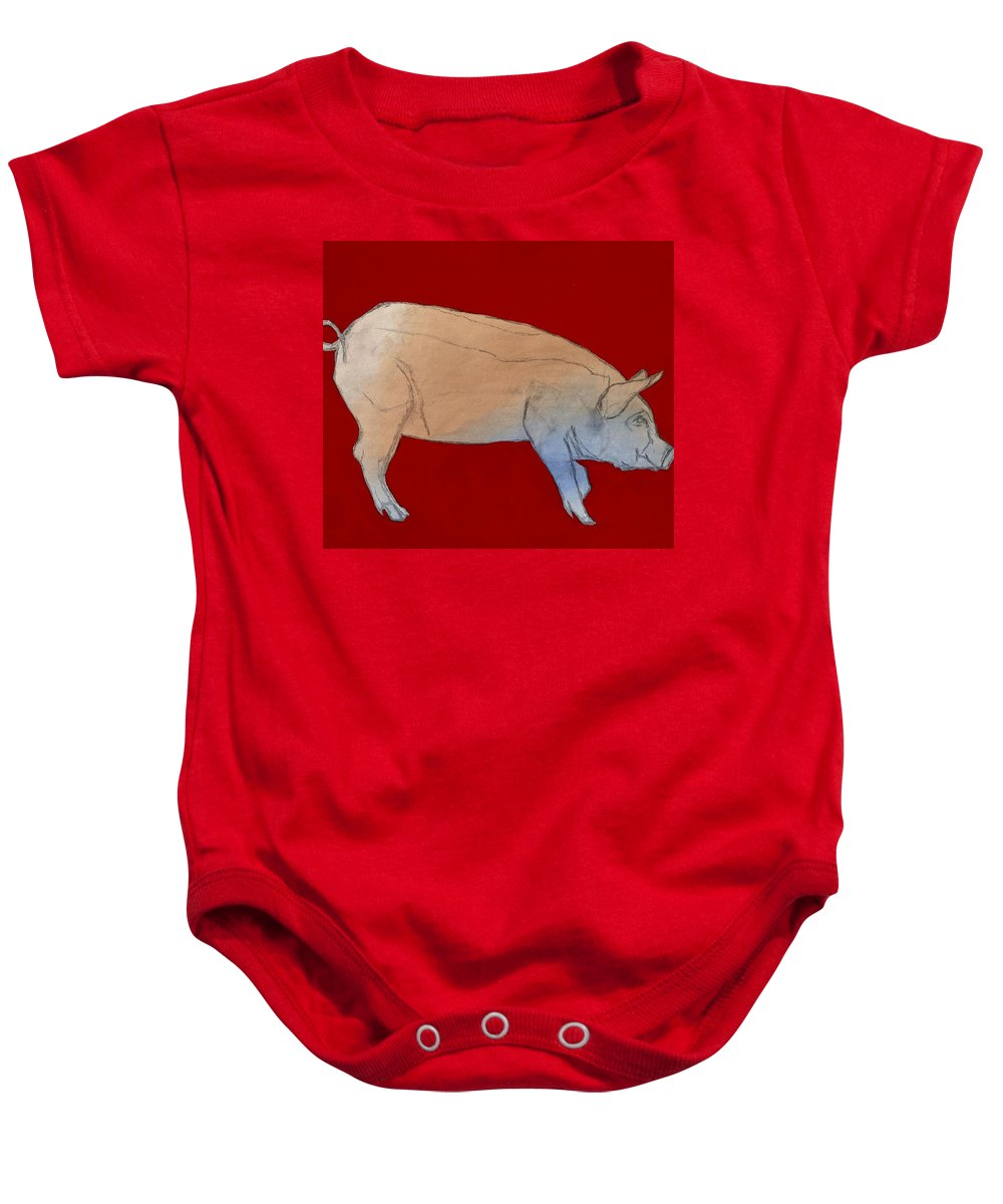 Pig Baby Onesie featuring the painting Red Pig by Randine Dodson