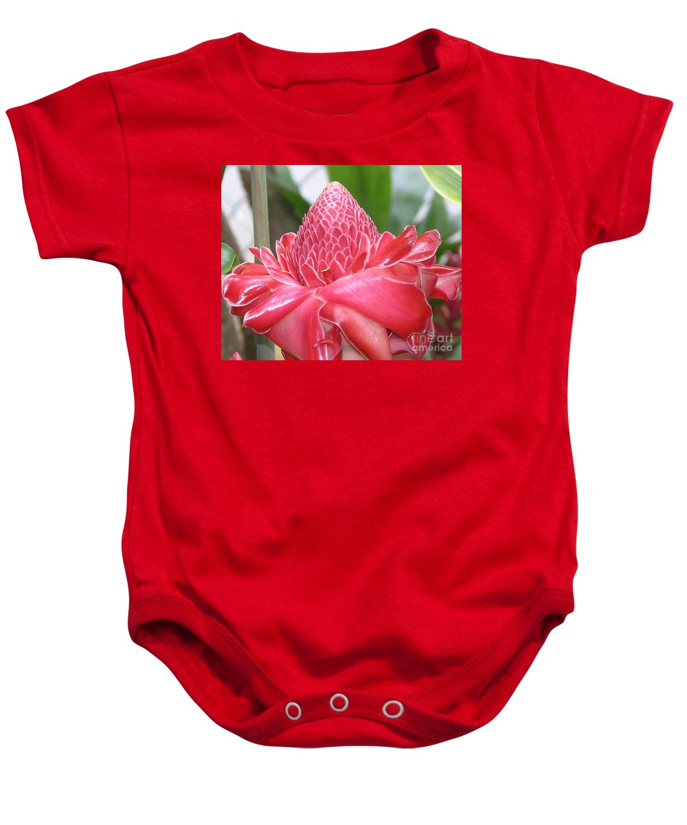 Ginger Baby Onesie featuring the photograph Red Torch Ginger by Mary Deal