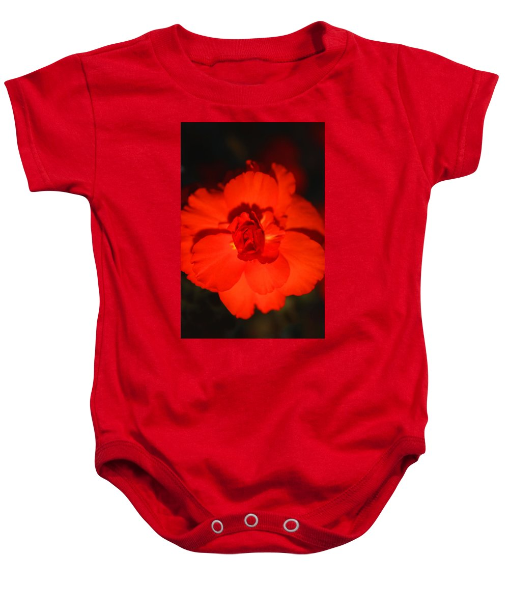 Red Baby Onesie featuring the photograph Red Tuberous Begonia by Carole-Anne Fooks