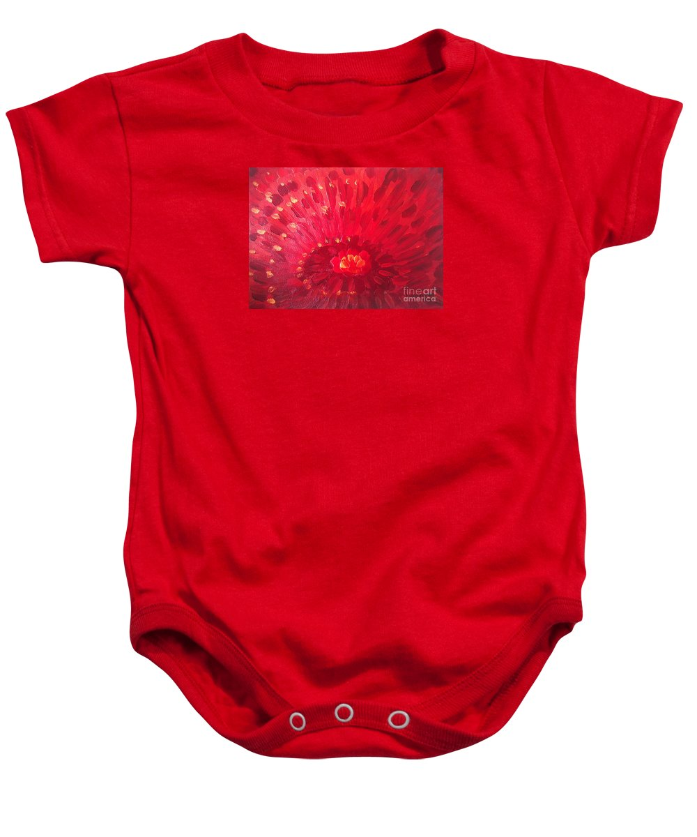 Abstract Baby Onesie featuring the painting Red Zinnia by Holly Carmichael