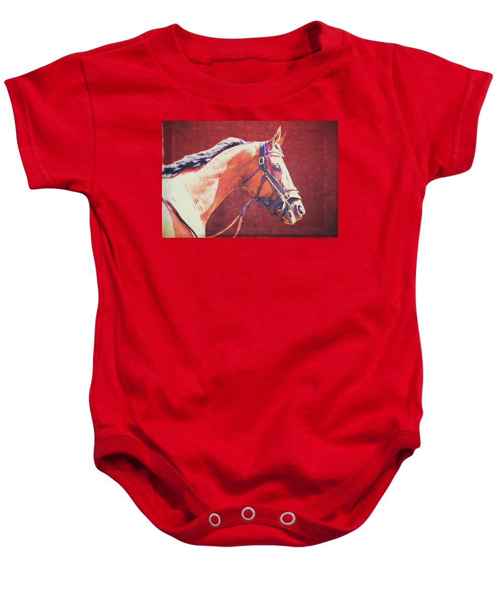 Racehorse Baby Onesie featuring the photograph Regal Racehorse by Alice Gipson