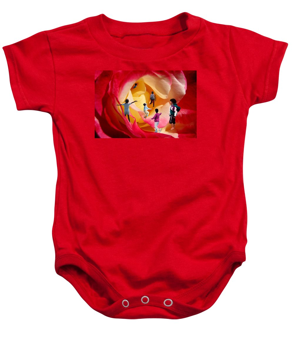 Rose Baby Onesie featuring the digital art Rose Labyrinth by Lisa Yount