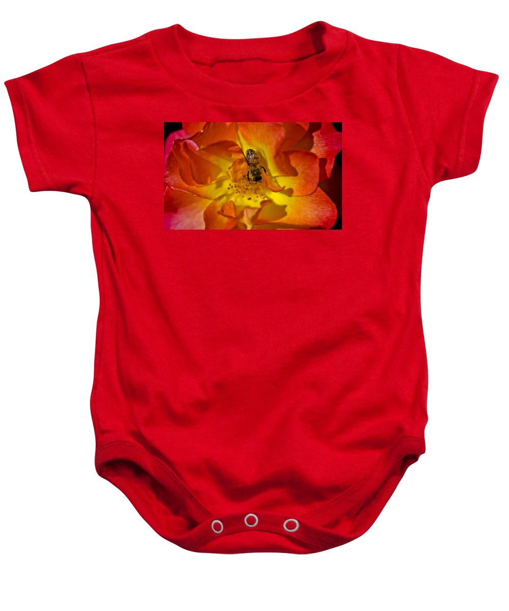 Rose Baby Onesie featuring the photograph Rose With Bee by David Berg
