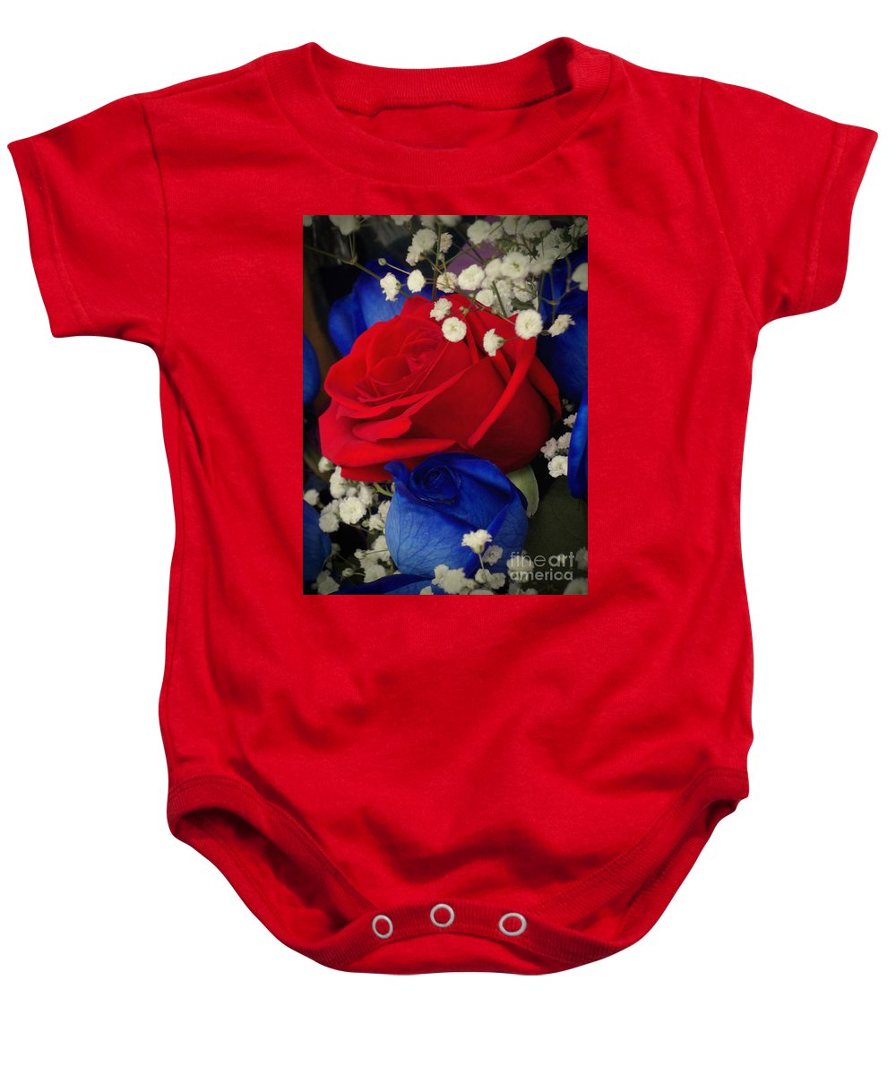 Flowers Baby Onesie featuring the photograph Roses - Red White And Blue by Miriam Danar