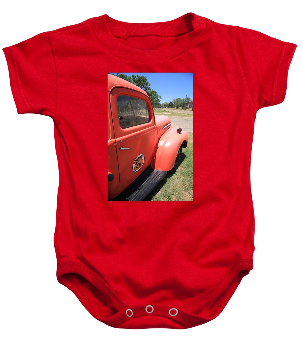 66 Baby Onesie featuring the photograph Route 66 Pickup Truck by Frank Romeo
