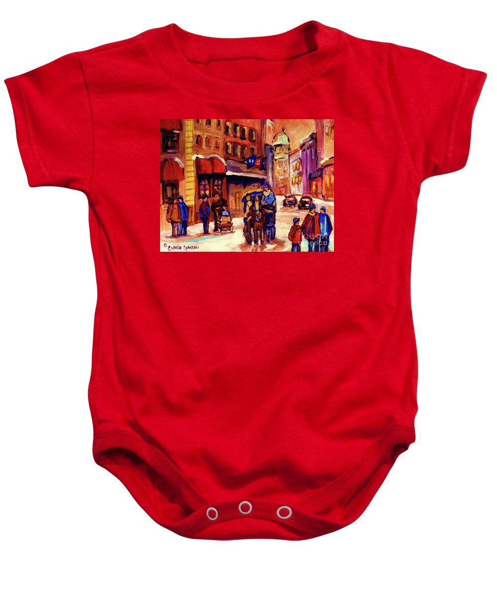 Montreal Baby Onesie featuring the painting Rue St. Paul Old Montreal Streetscene In Winter by Carole Spandau