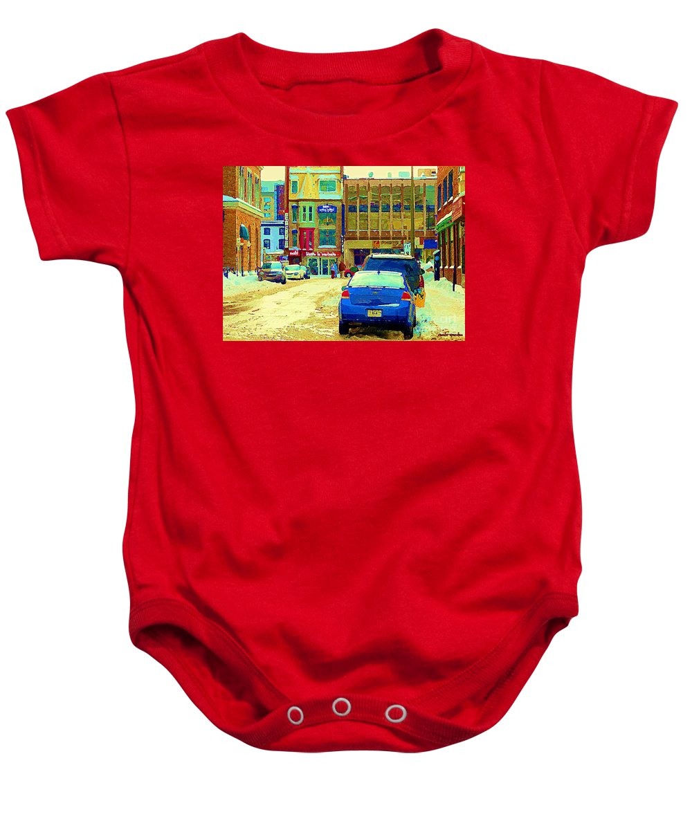 Downtown Montreal Baby Onesie featuring the painting Rue Stanley Cafe Bistro La Marinara Italian Resto Asm Acting School Downtown Montreal Urban Scenes  by Carole Spandau