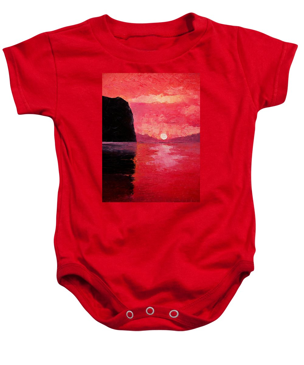 Landscape Baby Onesie featuring the painting Seaside Sunset by Sergey Bezhinets