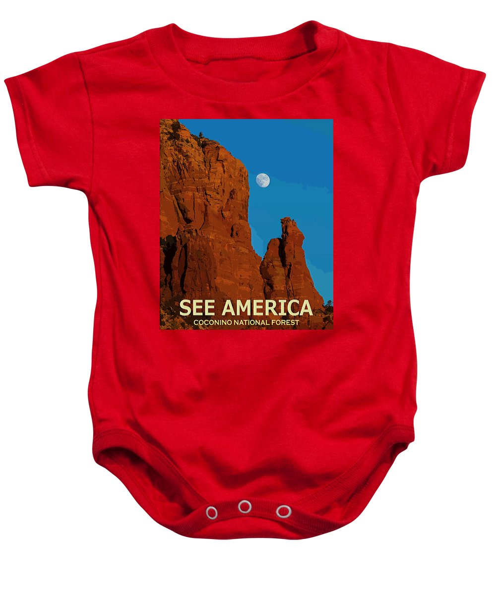 Poster Baby Onesie featuring the digital art See America - Coconino National Forest by Ed Gleichman