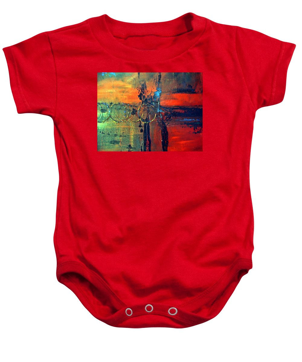 Abstract Baby Onesie featuring the painting Seven Rings by Sheila Neeley