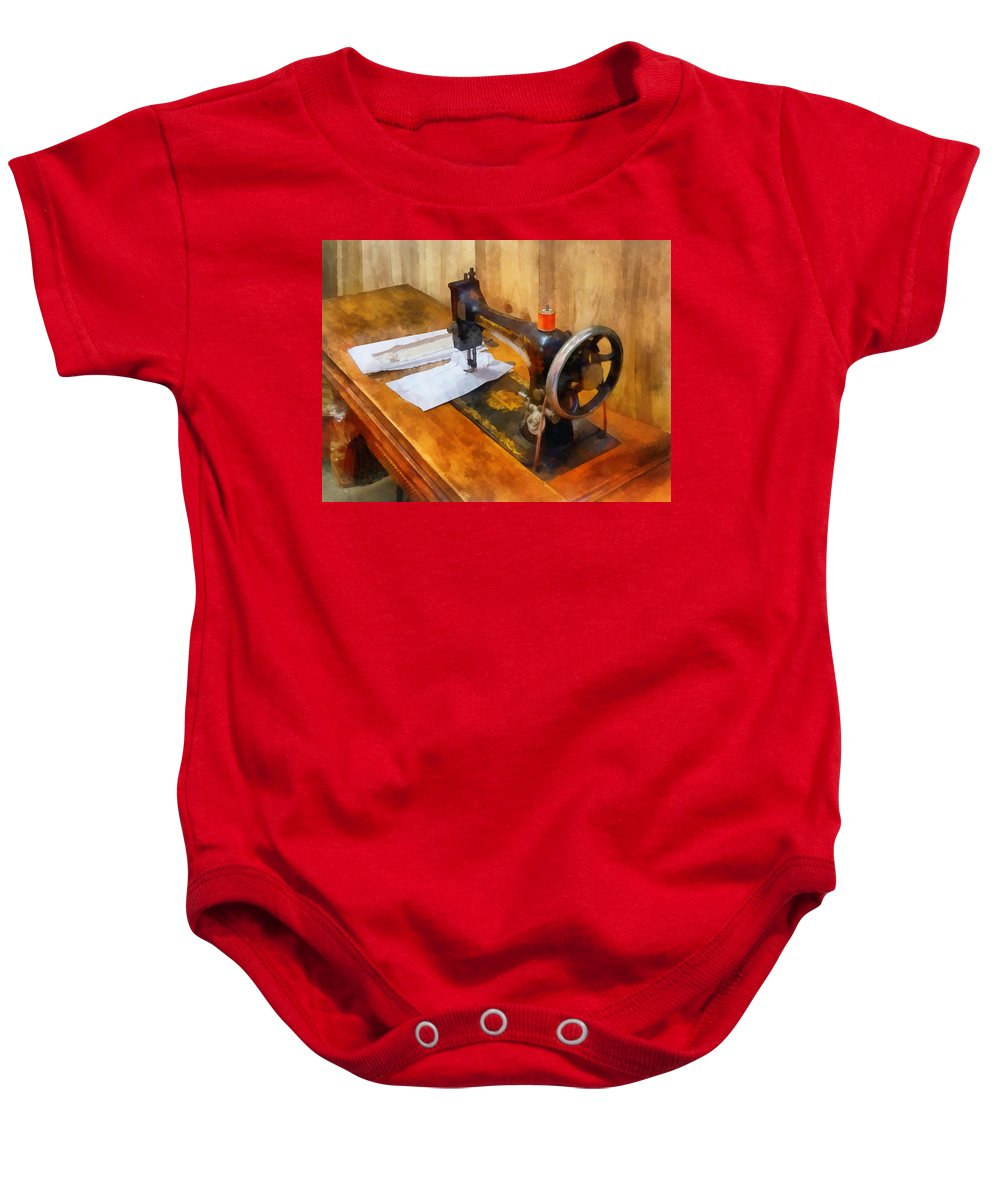 Sew Baby Onesie featuring the photograph Sewing Machine With Orange Thread by Susan Savad