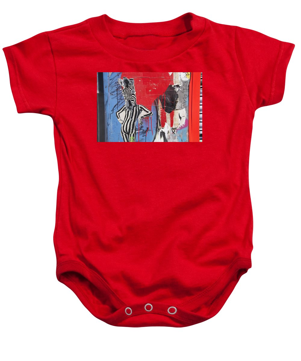 Street Art Baby Onesie featuring the photograph Sexy Zebra by David Resnikoff