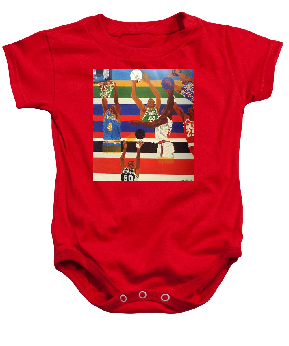 Basketball Baby Onesie featuring the painting Shoots N Hoops by Leslye Miller
