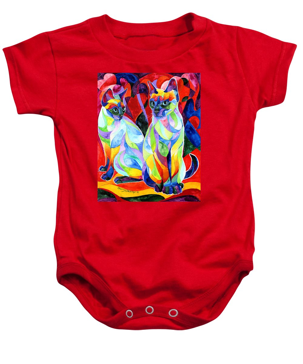 Cats Baby Onesie featuring the painting Siamese Sweethearts by Sherry Shipley