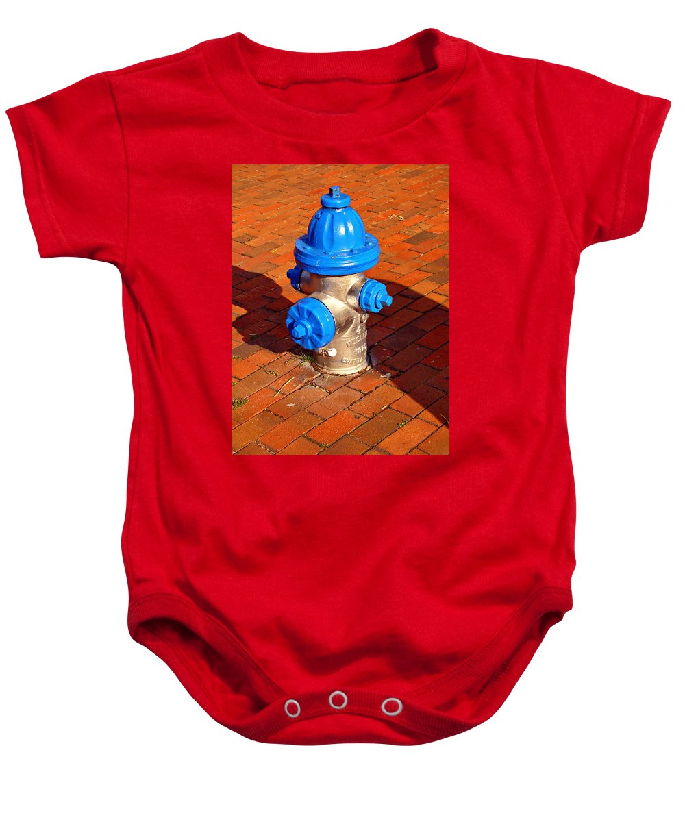 Fine Art Baby Onesie featuring the photograph Silver And Blue Hydrant by Rodney Lee Williams