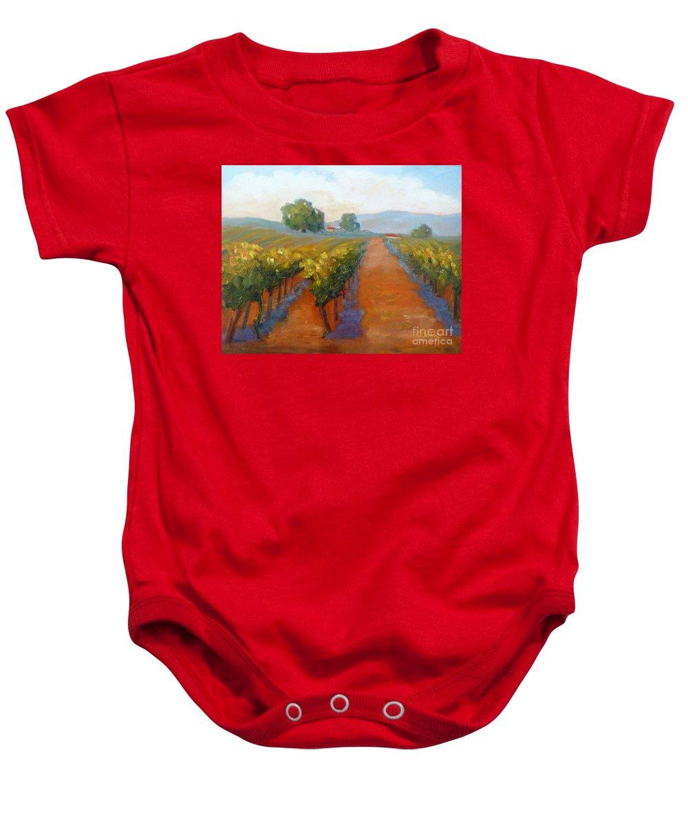 Vineyards Baby Onesie featuring the painting Sonoma Vineyard by Carolyn Jarvis