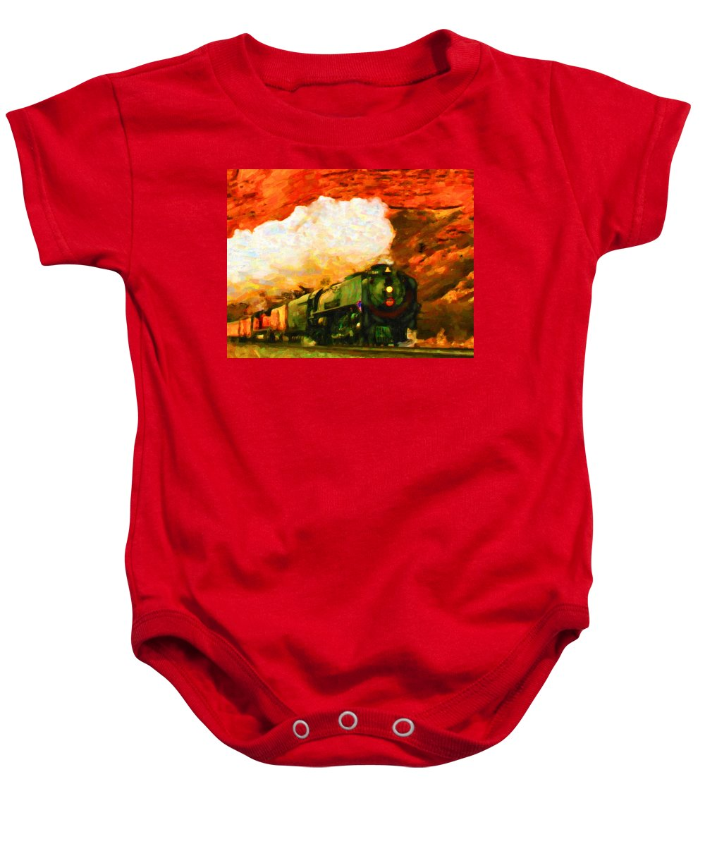 Art Baby Onesie featuring the digital art Steam And Sandstone by Chuck Mountain