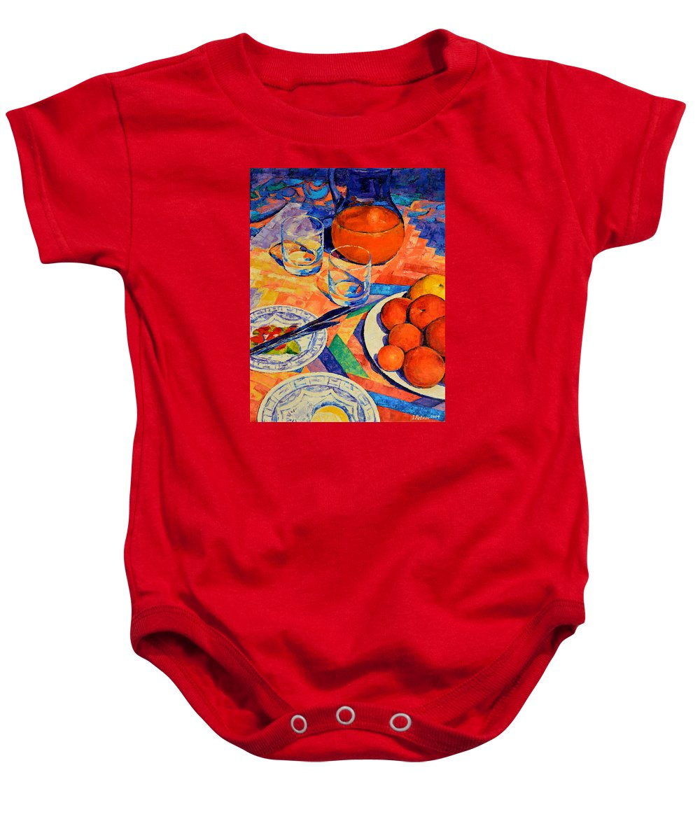 Still Life Baby Onesie featuring the painting Still Life 1 by Iliyan Bozhanov