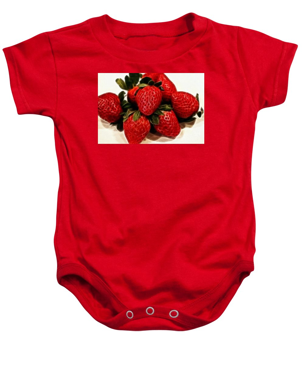 Strawberries Expressive Brushstrokes Baby Onesie featuring the photograph Strawberries Expressive Brushstrokes by Barbara Griffin