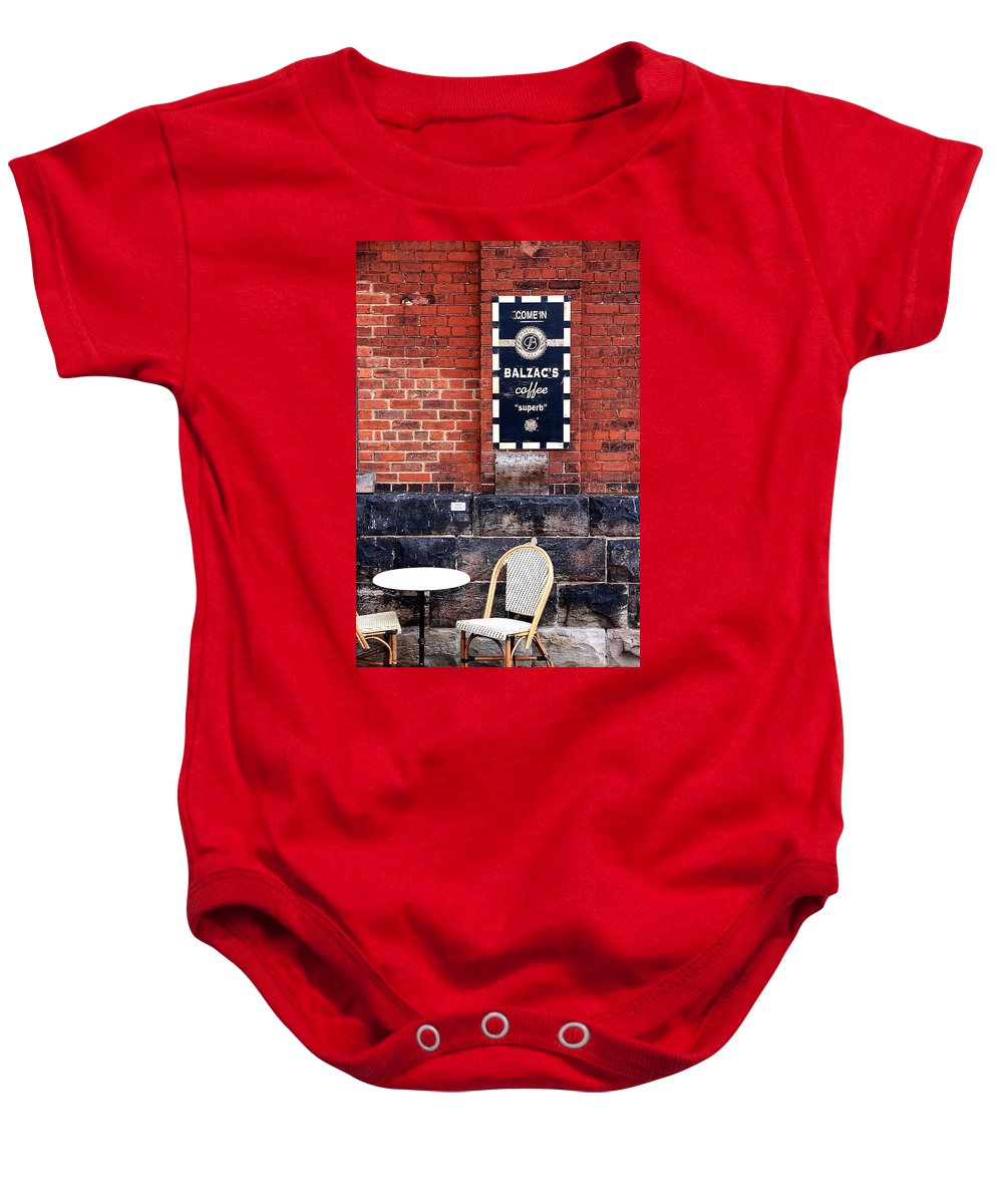 Street Baby Onesie featuring the photograph Street Cafe by Valentino Visentini