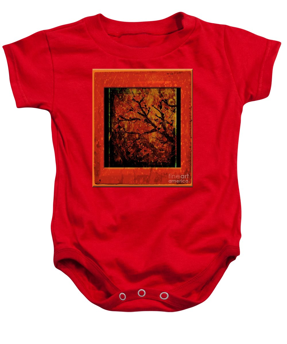 Stylized Cherry Tree With Old Textures And Border Baby Onesie featuring the painting Stylized Cherry Tree With Old Textures And Border by Barbara Griffin