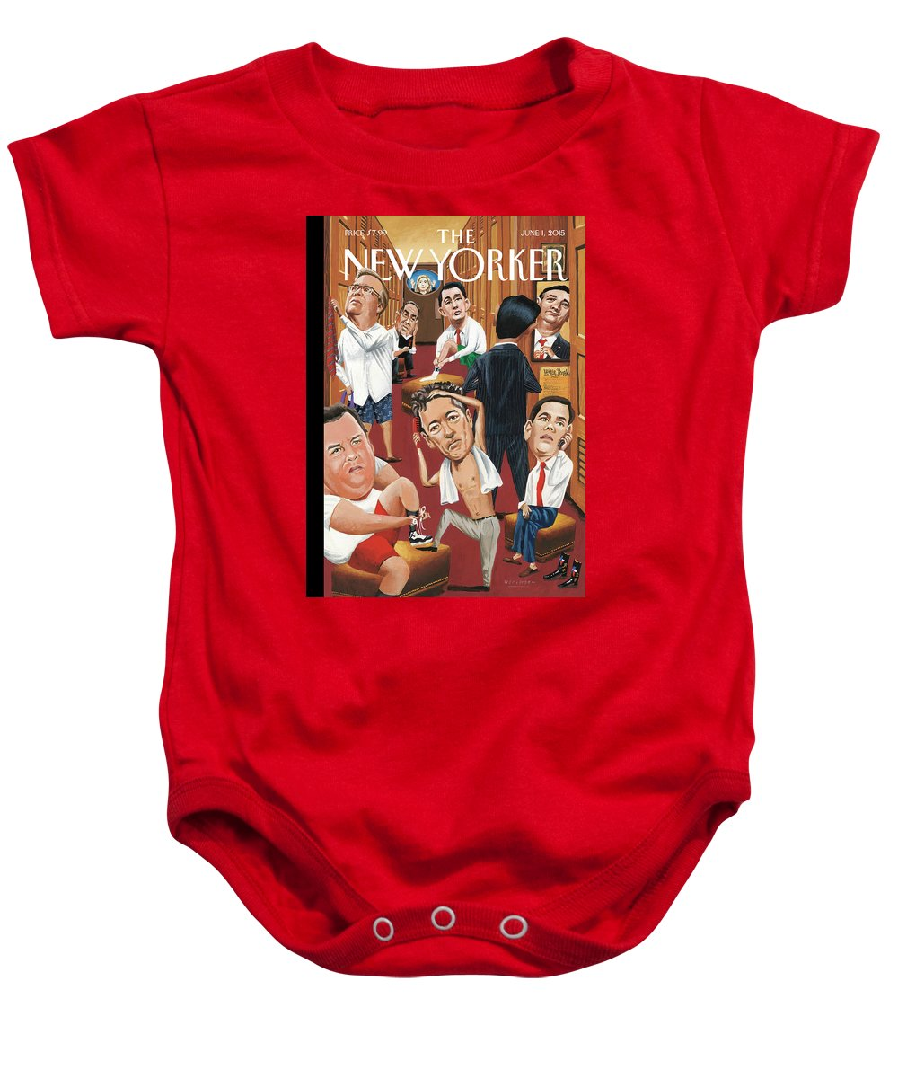Marco Rubio Phone Baby Onesie featuring the painting Suiting by Mark Ulriksen